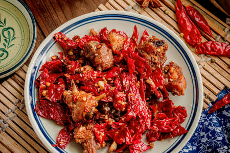 Chicken with sichuan chili peppers
