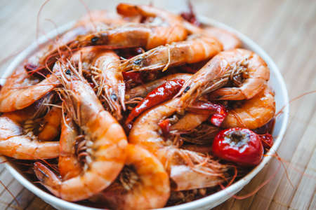 Spicy shrimp on a plate, gourmet, delicious