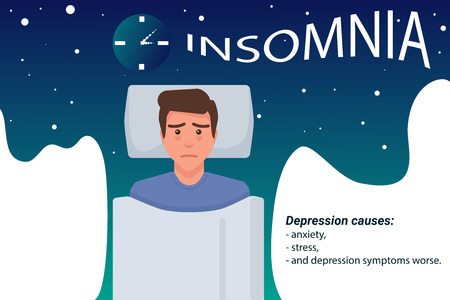 Insomnia vector illustration with blue night sky and white space for text. A man lying with sleepless face. Illustration