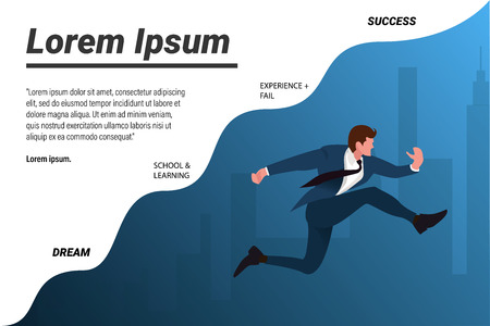 Businessman running reaching for dreams vector illustration with blue and white background.