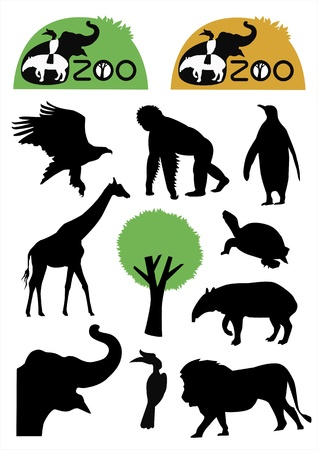 zoo and wild animal silhouette Vector
