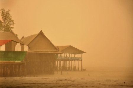 duskiness: sepia background  in rainy day at sea