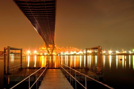 night scene of riverside in bangkok photo