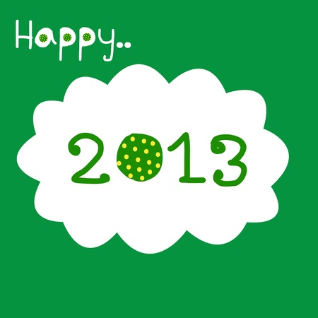 Happy New Year 2013 with polka dot_green Vector