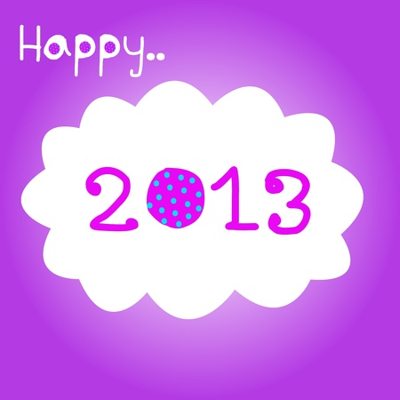 Happy New Year 2013 with polka dot_pink Vector