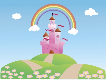 Fairy Tale Castle and Rainbow Vector