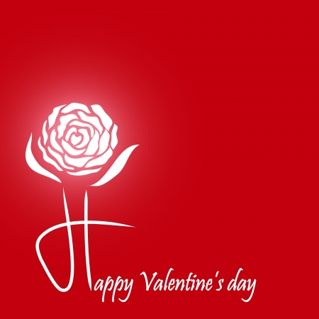Valentine s Day with white rose on red background Vector
