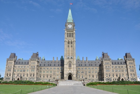 Front facade of Parliament Buildings, Ottawa, Canada Редакционное
