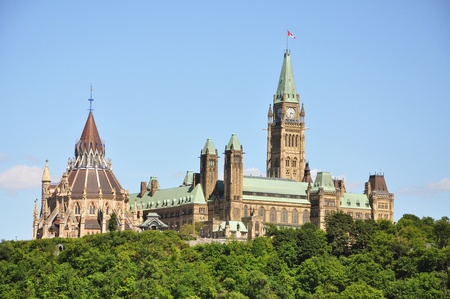 Parliament Buildings and Library, viewed across Ottawa River, Ottawa, Ontario, Canada