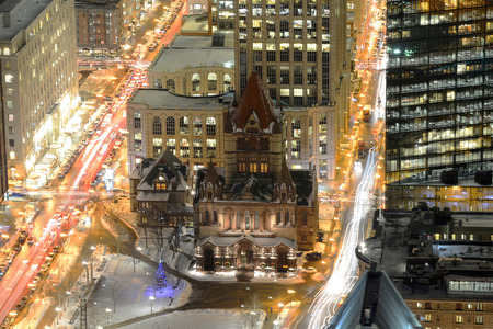 prudential: Boston Trinity Church Aerial view at night, from the top of Prudential Center, Boston, Massachusetts, USA Stock Photo