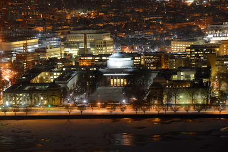 Great Dome of Massachussets Institute of Technology (MIT) Aerial view at night, Cambridge, Massachusetts, USA