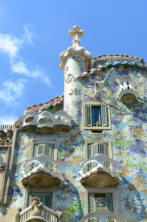 Casa Batllo (La Casa Batll?) is an Modernism masterpiece by architect Antoni Gaudi at Eixample District in Barcelona, Catalonia, Spain Фото со стока