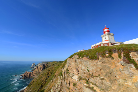mainland: Cabo da Roca Light House. Cabo da Roca is the most westerly point of the Europe mainland, Sintra, Portugal