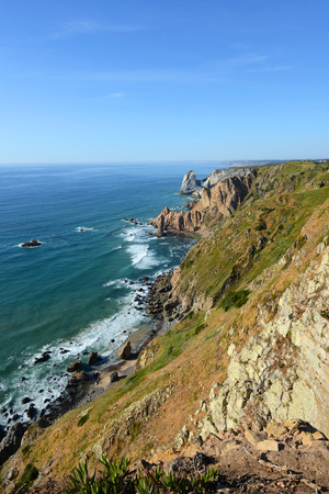 mainland: Rocky seashore of Cabo da Roca, Sintra, Portugal. Cabo da Roca is the westmost point of mainland Europe.