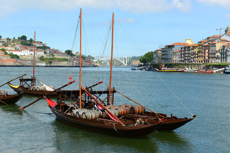 rabelo: Rabelo Boat (Portuguese: Barcos Rabelo) moored at the quarry at Porto Old City, Portugal. Rabelo Boats are traditional vessels transport wine from Douro Valley to the city of Porto