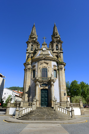 national historic site: Igreja de Nossa Senhora da Consolacao e Santos Passos in the Old City of Guimaraes, Portugal. The church was built in 18th century with Baroque style and Rococo decoration