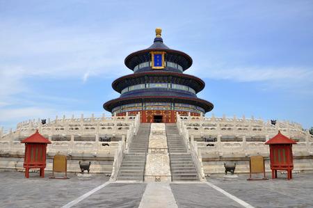 cielo: Templo del Cielo, sala de oraci�n por las buenas cosechas, Beijing, China. Foto de archivo