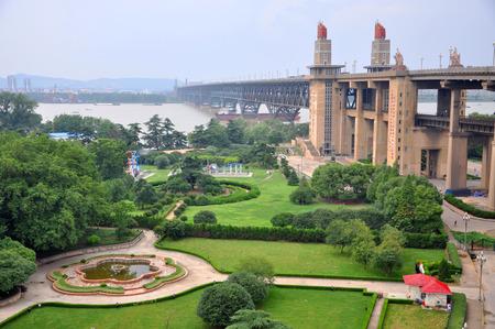 Nanjing Yangtze River Bridge was built across the Yangtze River (Chang Jiang) in 1968 with Cultural Revolution Style, Nanjing, Jiangsu Province, China. The bridge is 6,772 meters (22,212 ft) long.