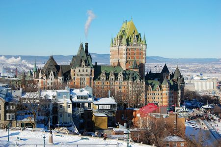 Quebec City skyline in winter, viewed from La Citadelle, Quebec City, Quebec, Canada photo