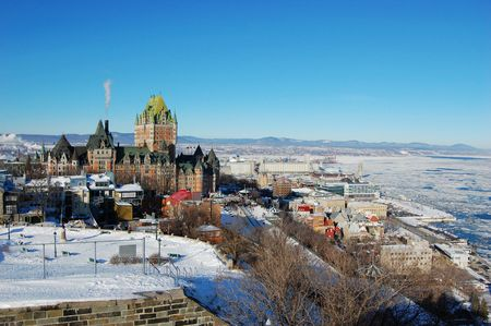Quebec City skyline in winter, viewed from La Citadelle, Quebec City, Quebec, Canada Фото со стока
