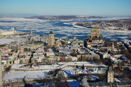 Quebec City in winter, view from Observatoire de la Capitale, Quebec, Canada Фото со стока