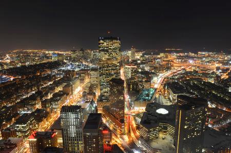 Boston John Hancock Tower and Back Bay Skyline at night, from top of Prudential Center, Boston, Massachusetts, USA Stock Photo