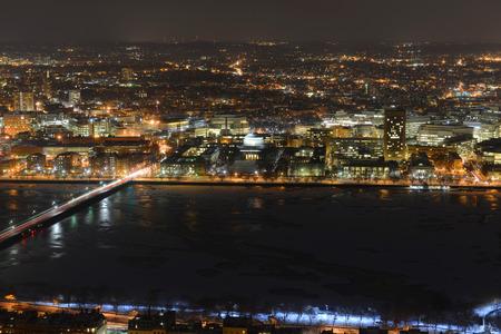 mit: MIT campus on Charles River bank at night, Boston, Massachusetts, USA