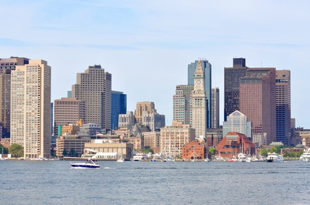 Boston City Skyscrapers, Custom House and Boston Waterfront from East Boston, Boston, Massachusetts, USA photo