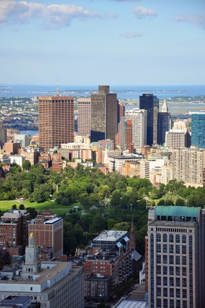 prudential: Boston Custom House, Financial district and Back Bay, from top of Prudential Center, Massachusetts, USA