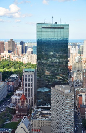 Boston John Hancock Tower and Back Bay Skyline, from top of Prudential Center, Massachusetts, USA photo