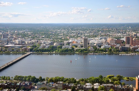mit: Aerial view of MIT campus on Charles River bank, Boston, Massachusetts, USA