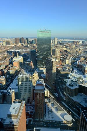john hancock: Boston John Hancock Tower and Back Bay Skyline in winter, from top of Prudential Center, Massachusetts, USA
