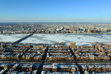 Boston Back Bay, Charles River and apartment aerial view in winter, Boston, Massachusetts, USA photo