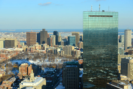 prudential: Boston John Hancock Tower and Back Bay Skyline in winter, from top of Prudential Center, Massachusetts, USA
