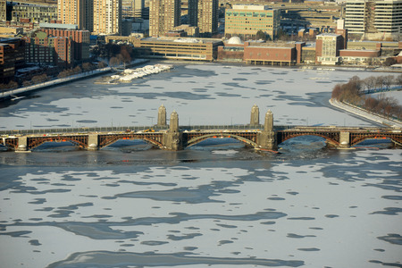 Aerial view of Back Bay, Charles River and Longfellow Bridge in winter, Boston, Massachusetts, USA photo