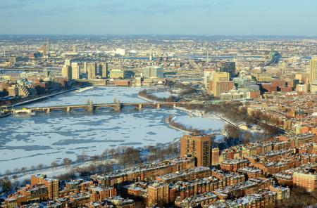 Boston Back Bay, Charles River and Longfellow Bridge Aerial view in winter, Boston, Massachusetts, USA photo