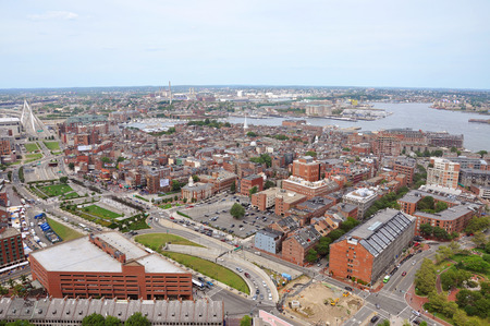 north   end: Boston North End, Old North Church and Italian Community aerial view, Boston, USA