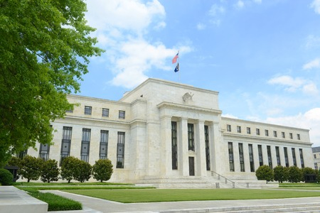 Federal Reserve Building is the headquarter of the Federal Reserve System and 12 Federal Reserve Banks, Washington DC, USA 스톡 콘텐츠