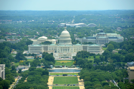 columbia district: United States Capitol Building aerial View from the top of Washington Monument in Washington, District of Columbia, USA Stock Photo