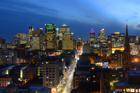 montreal city: Montreal city skyline at sunset, Montreal, Quebec, Canada Stock Photo