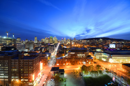 Montreal city skyline at sunset, Montreal, Quebec, Canada Stock Photo