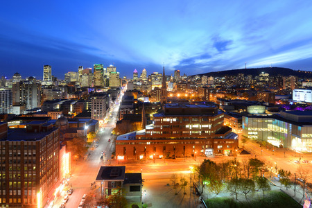 city park skyline: Montreal city skyline at sunset, Montreal, Quebec, Canada Stock Photo