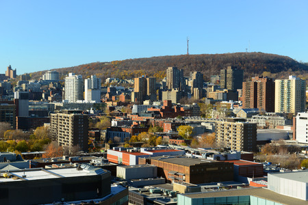 montreal city: Montreal city skyline with Mont Royal at the background, Montreal, Quebec, Canada