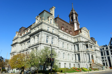 montreal city: Montreal city hall is a French Empire style building in old town Montreal, Quebec, Canada Stock Photo