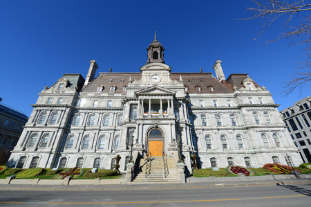 montreal city: Montreal City Hall wide angle, Montreal city hall is a French Empire style building in old town Montreal, Quebec, Canada Stock Photo