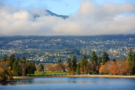 stanley: Vancouver City and Stanley Park, with Cypress Mountain at the background, British Columbia, Canada