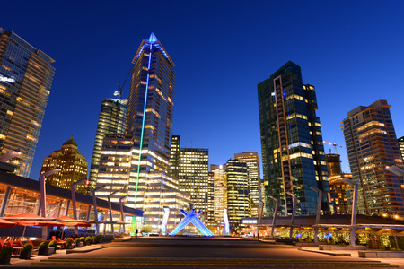 district of colombia: Vancouver city financial district at night, Vancouver, British Columbia, Canada.