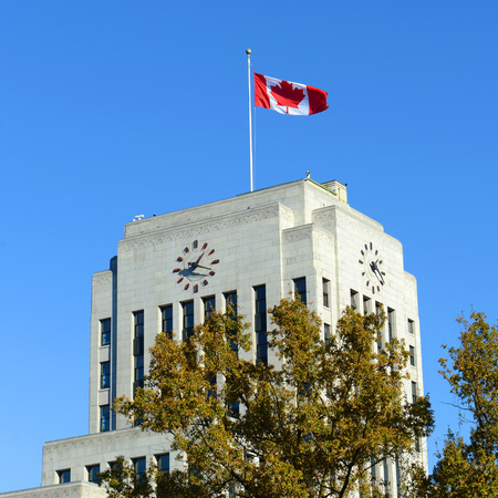 canada flag: Vancouver City Hall is an Art Deco style in downtown Vancouver, British Columbia, Canada.