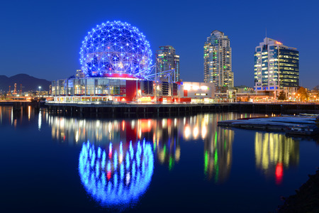 the world expo: Vancouver Science World at night, Vancouver, British Columbia, Canada.  This building was designed for EXPO 86.