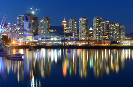 Vancouver City skyline and Rogers Arena at night, Vancouver, British Columbia, Canada